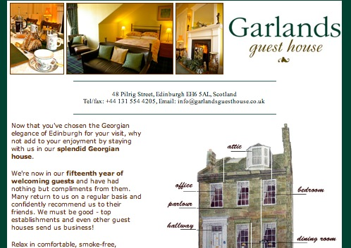 Garlands Guest House site